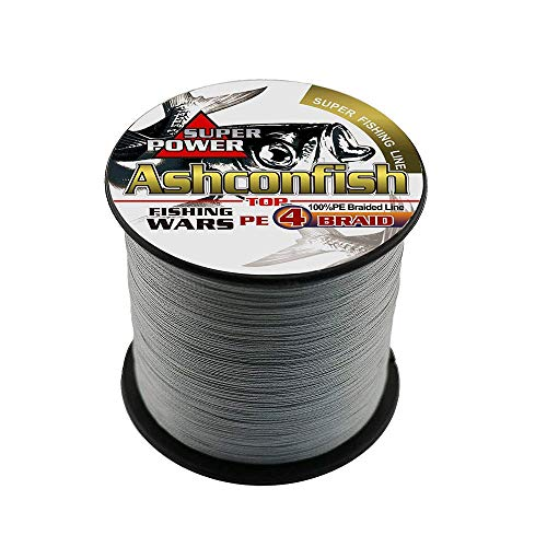 ashconfish – Super Stark Geflochtene Angelschnur PE Angeln Draht Multifil Angeln String 1000 m/1093yards Angeln Gewinde – abriebfest Incredible Superline Zero Stretch klein Durchmesser dunkel – grau