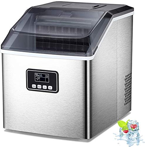 AGLUCKY Counter top Ice Maker Machine,40LBS/24H Ice Machine,Portable Ice Cube Makers with Self-cleaning,Easy-to-Control LCD Display,See-Through Lid for Home/Kitchen/Bar (Silver)
