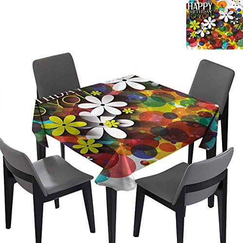 Birthday Small Square Tablecloth Daisies Dots Best Wish for Banquet Decoration Dining Table Cover 70x70 inch