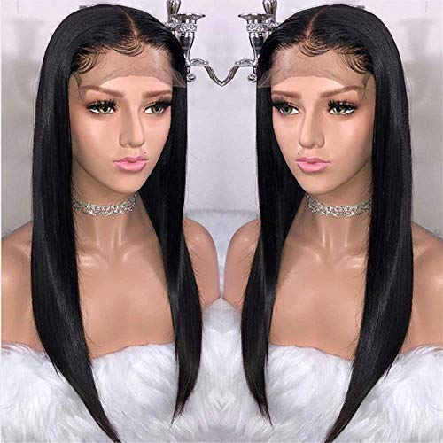 BEEOS 9A 360 Lace Frontal Straight Wig with Baby Hair,Pre Plucked and Bleached Knots, Free Part Natural Black Brazilian Virgin Remy Human Hair Wigs (16 Inch)