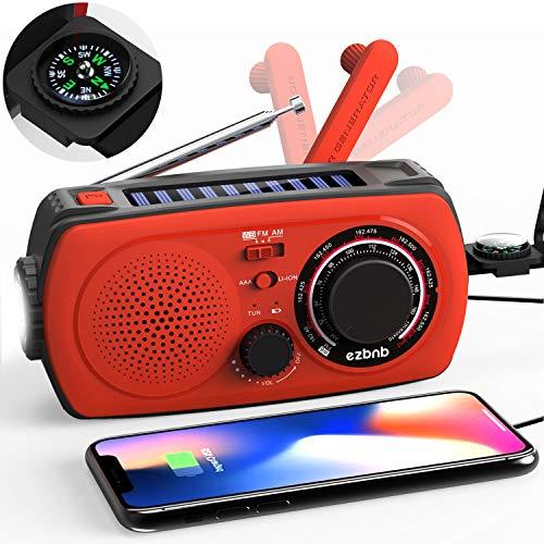 2020 Upgraded Version Emergency Solar Hand Crank Radio, Portable AM/FM NOAA Weather Radio for Outdoor Household Emergency Device, LED Flashlight, 2200mAh Power Bank, Compass, SOS Alarm