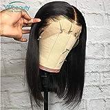 VIPbeauty Bob Perruque Femme Vrai Cheveux Courts Bresiliens Naturelle Cheveux Humains Vierges Lisse lace front Noir Naturel - 8 Pouces