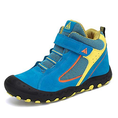 Mishansha Zapatos de Botas de Invierno para Unisex-Niños Botas de Senderismo Cómoda Botas de Montaña Deportiva Azul Gr.35