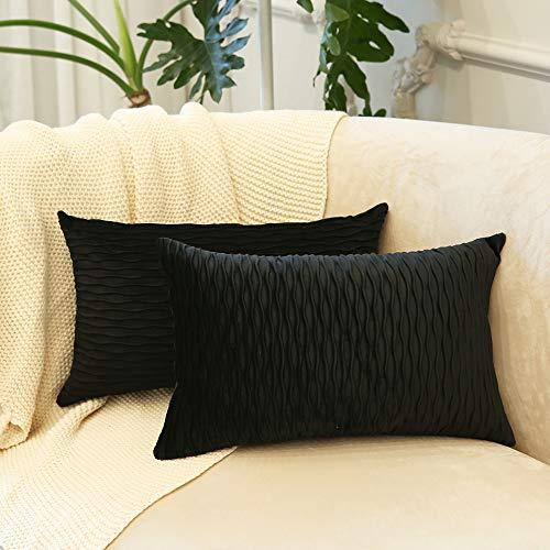 Vanky Schwarz-gestreifter Samt-Dekokissenbezug, weich, bequem, quadratisch, für Bauernhaus, 30,5 x 50,8 cm, Kissenbezug für Sofa, Schlafzimmer, 2 Stück