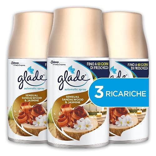 Glade Automatic Tripla Ricarica, Profumatore per Ambienti Spray Fragranza Sensual Sandlawood e Jasmine, 3 x 269 ml