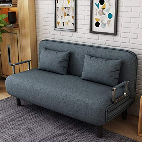 N/Z Haushaltsausstattung Zwei-Personen-Cabrio-Schlafsofa Doppel-Lounge-Sessel Freizeit-Liege Couch Multifunktionales Klappsofa im europäischen Stil Home Office mit 2 Kissen Blau 190 * 100 * 26CM