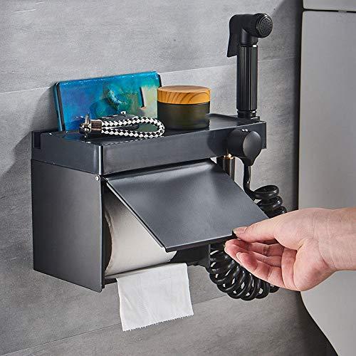 Zshhy Inodoro de baño Negro Soporte de Papel Kit de Grifo para bidé Estante de Acero Inoxidable Accesorios de baño montados en la Pared