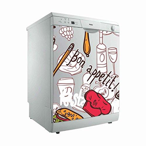 Vinilo para Lavavajillas Bon Appetit ¡ | Varias Medidas 70x80cm | Adhesivo Resistente y de Facil Aplicación | Pegatina Adhesiva Decorativa de Diseño Elegante|