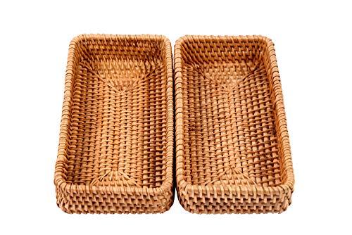 Chinoxinh - Juego de 2 bandejas rectangulares de mimbre para servir (mimbre)