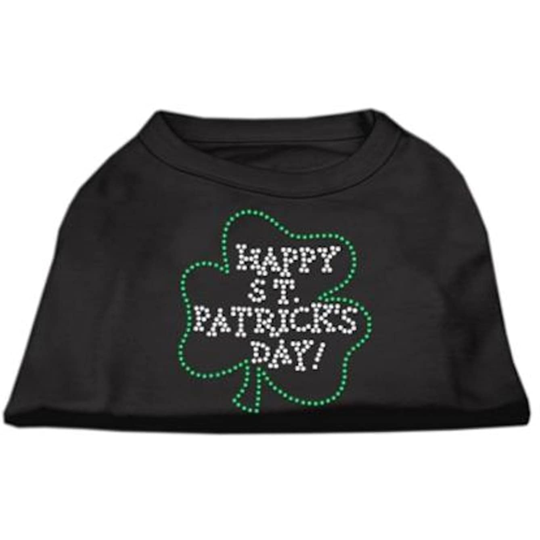 Mirage Pet Products Happy St. Patrick's Day Rhinestone Pet Shirt, Large, Black