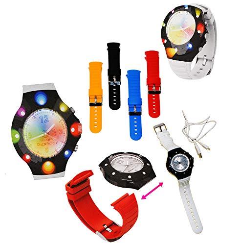 alles-meine.de GmbH 4 Paar - Bunte Silikon Armbänder - passend für Disco Watch - ROT - GELB - SCHWARZ - BLAU - 2 cm breit - Armbanduhr mit LED - Licht - Uhr für Erwachsene & Kind..