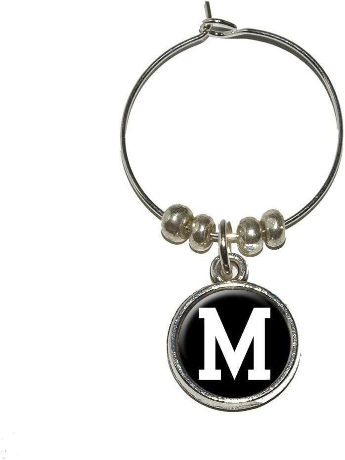 Letter M Initial Black White Wine Fixed price for sale Super intense SALE Drink Charm Stem Marker Glass