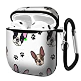 Slim Form Fitted Printing Pattern Cover Case with Carabiner Compatible with Airpods 1 and AirPods 2 / French Bulldog on Floral Pattern