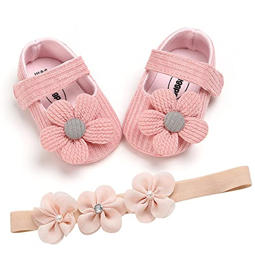 Infant Toddler Prewalker Bowknot Flower Princess Shoes + Headband Set Bébé Filles Printemps Et Automne en Laine Tournesol Chaussures en Tissu à Semelle Souple