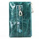 AINIMOER Luxury Women's Wax Paper Cow Leather ZIP Key Case Card Holder Coin