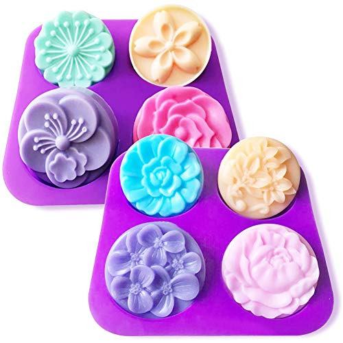 Silicone Soap Molds, 2Pcs Flower Homemade DIY Silicone Soap Mold Cupcake Baking Mold Muffin Pan, 4 Cavity Soap Making Mold Supplies