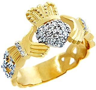 18k Yellow Gold Diamond Pave Claddagh Promise Ring for Women