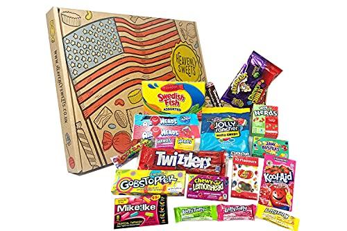 Dolci celesti Americano 100% Scatola per snack e caramelle Vegetariano - Set classico di marchi USA, prelibatezze, regalo perfetto per bambini, adulti - compleanno, Natale, riempitivi pasquali