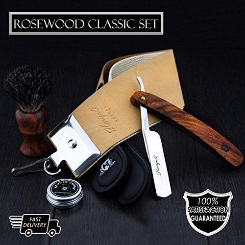 Pure Rose Holz gemacht schwarze Dachs Haar Rasur Pinsel mit hölzernen geraden Rasiermesser, Double xl Leder Strop mit Paste.