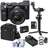 Sony Alpha 7C Mirrorless Digital Camera with FE 28-60mm Lens, Black, Gimbal Bundle with DJI RSC 2 Stabilizer, Bag, 128GB SD Card, Extra Battery, Charger and Accessories