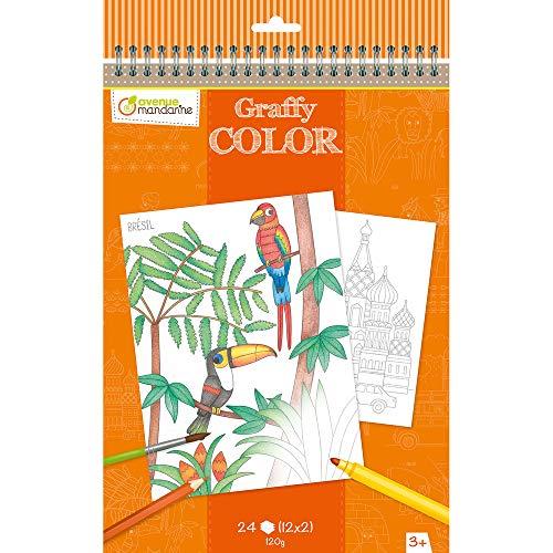 Avenue Mandarine GY019O - Un carnet à spirale 24 pages imprimées à colorier 21x28 cm 120g (12 designs x 2), Voyages