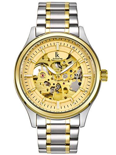 Alienwork Herren Damen mechanische Automatik-Uhr Silber mit Edelstahl Metallarmband Gold Skelett