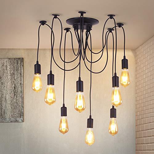DIY Lámpara de techo araña rústica vintage Edison industrial ajustable candelabro colgante 6/8 cabezales