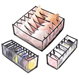 3Pcs Organizador de Cajones Ropa Interior Sujetador Calcetines Bragas Caja de Almacenamiento Ropa Interior Plegable Organizador de Armario de Rejilla Separador de Cajón para Sujetador Braga Calcetines