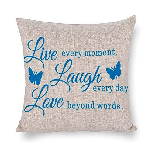 Blafitance Funda de almohada decorativa de lino con texto en inglés 'Live Every Moment Laugh Every Day Love Beyond Words', funda de almohada de lino rústica, decoración del hogar, 35 x 35 cm