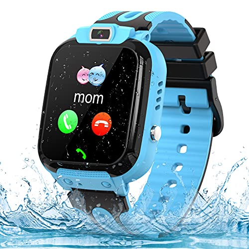 Smartwatch Kinder Phone Tracker Smartwatch für Kinder Uhr Smart Watch mit LBS SOS Voice Chat Anruf und Kamera für 3-12 Jahre alte Kinder Geburtstag (Blue)