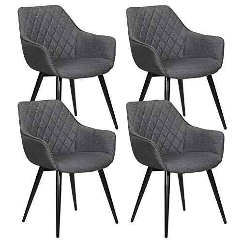 WOLTU Esszimmerstühle BH152dgr-4 4er Set Küchenstühle Wohnzimmerstuhl Polsterstuhl Design Stuhl mit Armlehne Dunkelgrau Gestell aus Stahl Leinen