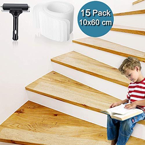 Bojim Antirutsch Treppe Streifen transparent Klebeband Set Stuffenmatten für Treppe rutschfest Boden Rutschschutz mit Walze Selbstklebend Antirutschstreifen Treppenstufen