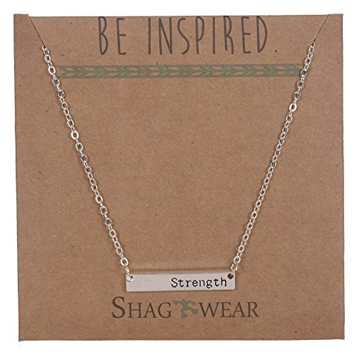 Shag Wear Women's - Be Inspired - Cute Meaningful Quote Pendant Necklace (Strength)