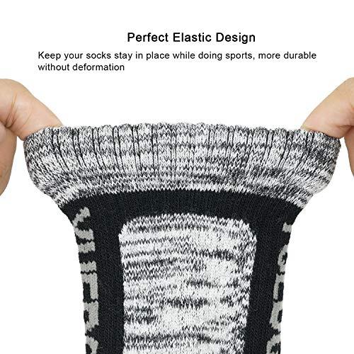 YUEDGE 5 Pairs Men's Athletic Socks Performance Cushion Crew Socks, Performance Moisture Wicking Workout Sports Socks, Wine Red/Blue/Light Gray/Gray/Black, XL (UK Size 9-12)