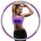 KINGFIT Hula Hoop - Aro de hula hoop para adultos (tubo interior de acero inoxidable, 8 secciones, 1 kg, 90 cm de diámetro), color morado y gris