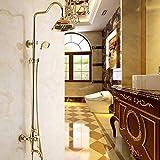Juego de grifos de ducha de lluvia para baño dorado, grifos mezcladores de lujo con cabezal de ducha de mano, juegos de ducha, sistema de ducha de mano