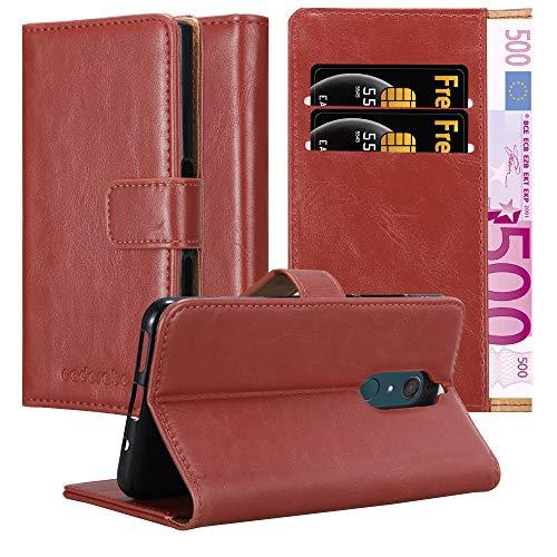 Cadorabo Hülle für WIKO View XL - Hülle in Wein ROT – Handyhülle im Luxury Design mit Kartenfach & Standfunktion - Hülle Cover Schutzhülle Etui Tasche Book