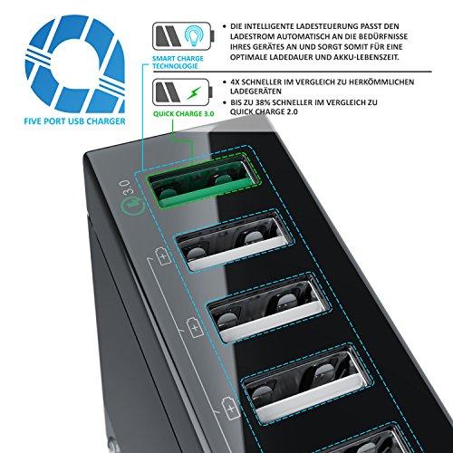CSL - USB Ladegerät 50W - 5-Port Netzteil inkl. Quick-Charging Schnellladefunktion - Smart Charge intelligente Lade-Identifikationstechnik - geeignet für Handys Smartphones Navis Tablets UVM.
