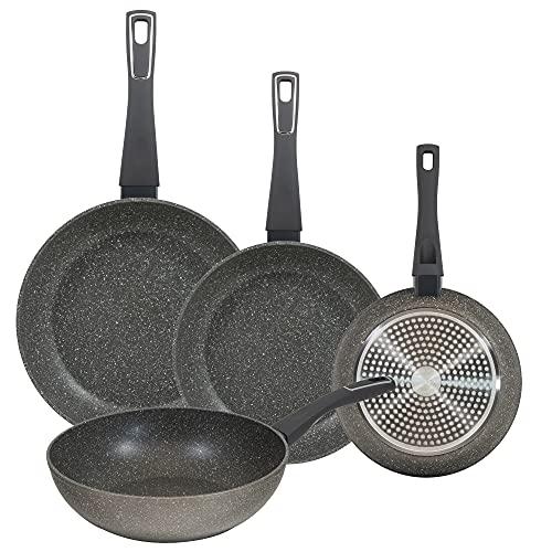 Juego de sartenes (20,24 y 28 cm) y wok de 28 cm BERGNER Mercury de alumino forjado aptas para induccion
