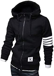ZUEVI Men's Casual Striped Drawstring Hooded And Zipper Closure Hoodies