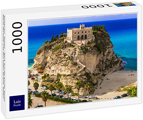 Lais Puzzle Calabria, Tropea - vista della chiesa di Santa Maria del'isola e grande spiaggia. Italia 1000 Pezzi