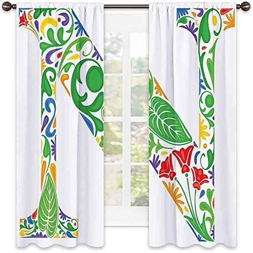 Cortina aislante de calor con letra N, inspirada en la Madre Tipografía de la naturaleza de las palabras, estilo botánico curvado, para sala de estar o dormitorio, 42 x 45 pulgadas, multicolor