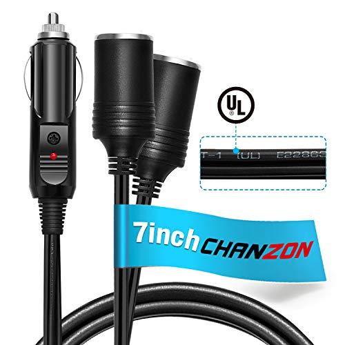[UL-anerkannt] Chanzon Car 2-Socket Splitter Zigarettenanzünder Stecker 7 Zoll / 18 cm 18AWG-Netzkabel 15A Sicherungsgleichstrom 12 24-Volt-Sockel 2-Wege-Y-Adapter 2-Wege-Verlängerung SPT-1-Ladegerät