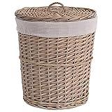 Fransande - Cesta de almacenamiento de mimbre con tapa para ropa sucia