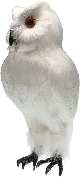 KODORIA Artificial Feathered Owl Realistic Bird Decoration Taxidermy Garden Decor White 1