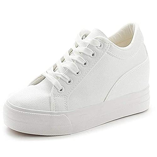 e0afb41c8d38 Buganda Women Fashion Leather Sneakers Casual Lace up White Black Flat Shoes  High Top Hidden Heel