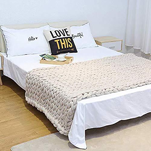 Manta De Punto Hecha A Mano, 100% Lana Merino Thick Line Throw Soft Rug Sofa Bed Lounge Decorator Home Decor,Beige,50 * 50cm