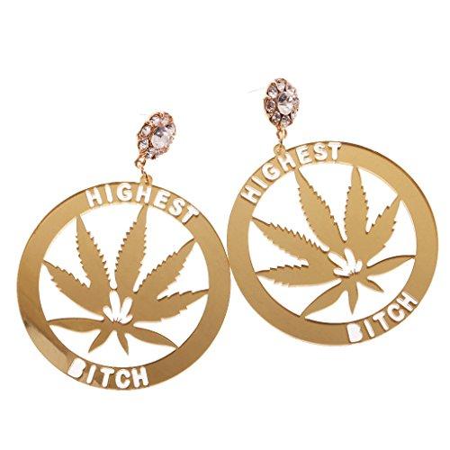 1 par de pendientes de marihuana para mujer, acrílico, pendientes de hip hop