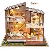 Gpzj DIY 3D Puppenhaus, Holz Miniatur Möbel Kit Mini Puppenhaus Spielset, Beste Weihnachten...