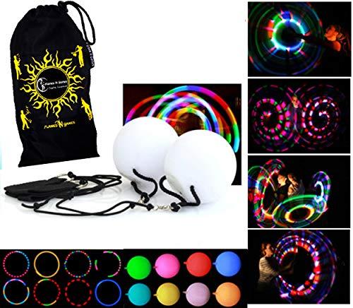 Soft & Safe Kid's Glow LED POI (6 Lichteinstellungen) Weich & Sicher LED Leuchtpoi für Kinder + Reisetasche! Nachtleuchtender Poi inkl. Batterien. Multifunktions-LED Luminous Pois